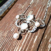 Sterling Silver Rainbow Moonstone, Sapphire, Freshwater Pearl Pendant/Chain