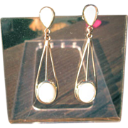 14kt Yellow Gold Pear and Oval Shape Opal Dangle Earrings