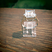 Sterling Silver Square Cubic Zirconia Ladies Ring