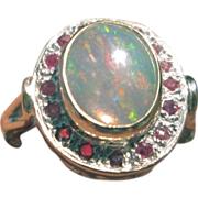 Sterling/9kt Fiery Opal and Multi Ruby Ladies Ring