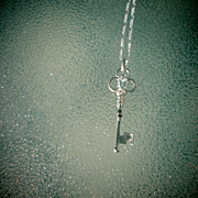Sterling Silver Oval Aquamarine and Sapphire Key Pendant with Chain