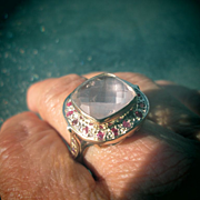 Light Pink Square Rose Quartz and Multi Ruby Sterling/Gold Ladies Ring