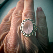 Light Pink Oval Faceted Clear Rose Quartz Sterling Ladies Ring