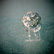 Sterling Silver Large Cubic Zirconia and Multi Sapphire Ladies Ring