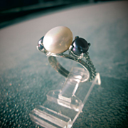 Sterling Silver White and Grey Freshwater Pearl Ladies Ring