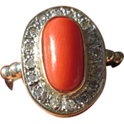 SOLD Sterling Silver/9kt Rose Gold Burnt Orange Coral and Multi Diamond Ladies Ring