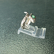 Sterling Silver Wrap Around Happy Snake Emerald Unisex Ring
