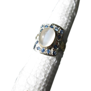 Sterling Silver/9kt Yellow Gold Grey Moonstone/Sapphire Ladies Ring