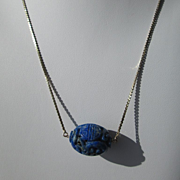 Vintage10kt Carved Lapis Lazuli Pendant with Yellow Gold Chain