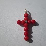 14kt Red Coral/Diamond Cross