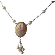 SOLD Sterling Silver Carved Shell Cameo of Lady Pendant with Fresh Water Pearl Sterling Neckla