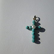 18kt Gold Multi Turquoise/Freshwater Pearl Cross