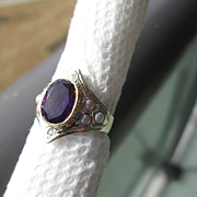 Sterling Silver/9kt Yellow Gold Deep Purple Oval Amethyst and Multi Seed Pearl, Diamond Ladies