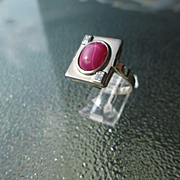 14kt White Gold Vintage Genuine Lindy Star Ruby/Diamond Ladies Ring