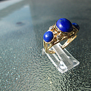 9kt Yellow Gold Oval and Round Triple Lapis Lazuli and Diamond Artisan Ladies Ring