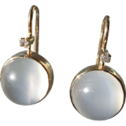 9/14kt Yellow Gold Round Grey Moonstone/Diamond Dangle Earring French Back Closure