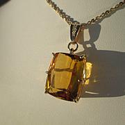 9kt Golden Rectangular Cut Citirine and Diamond Pendant