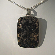 Sterling Silver Rectangular Black Flashing Lights Sparkle Agate Pendant with Sterling Chain