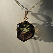 9kt Yellow Gold  Fascinating  Smokey Topaz and Diamond Pendant
