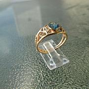 9-14kt Yellow/White Gold Deep Blue Topaz/Diamond Artisan Ladies RIng