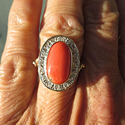 Sterling Silver/9kt Rose Gold Oval Coral/Multi Diamond Artisan Ring