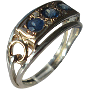 Sterling Silver/9kt Rose Gold Multi Sapphire/Diamond Arched Setting Ladies Ring