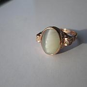 9kt Rose Gold Cats Eye Moonstone and Multi Diamond Ladies Artisan Ring