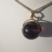 9kt Yellow Gold Wisteria Purple Round Amethyst Bead Pendant