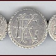 SALE Lovely Antique Love Token Silver Coin Monogram Pin