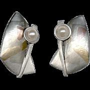SALE Modernist Artisan Signed Mixed Metal & Pearl Earrings Pierced Ears