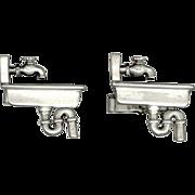 SALE Fenwick & Sailors Sterling Silver Novelty Cufflinks Kitchen Sink