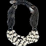 SALE Bold MONIES Multi-Strand Black & White Necklace