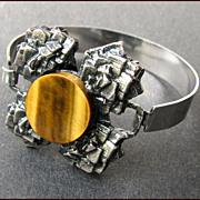 SALE Modernist Sterling Silver & Tiger's Eye Bracelet