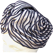 SALE Christian DIOR Silver & Navy Pleated Turban Style Hat