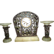 SALE An Unique French Art Nouveau Wrought Iron Clock Set, from circa 1920.