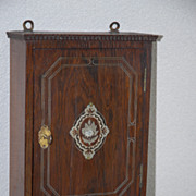 Rare Antique Inlaid Wooden Key Rack / Holder Wall Cabinet
