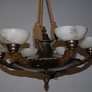 French Art Deco Bronze/Brass Figural 6-light Chandelier with Alabaster shades