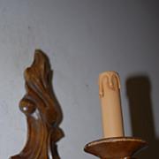 Vintage Fine Carved Wood 1 light Wall Sconce