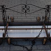 Rare Huge Art Nouveau Quality Wrought Iron & Glass 14-light Chandelier