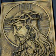 Art Nouveau Bronze Gothic Art Jesus - Christ Wall Plaque - Plate