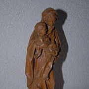 Lovely Vintage Hand Carved Wood Madonna and Child Statue