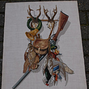 Beautiful  Vintage Fine Hand Made Needle Work Hunting Still Live