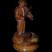Vintage Carved Wood Black Forest Musical Figure Violinist