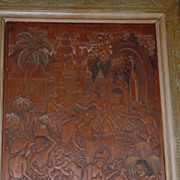 Bali Cock fight, Carved Wood Plaque  Ida Bagus Made Raka