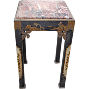 Antique Chinese Lacquer Table - Stand - Pedestal with Marble Top