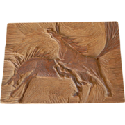 Horse Group Scene Vintage Hand Carved Wood Art Wall Plaque
