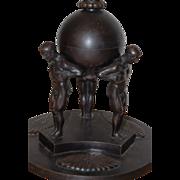 Rare Bronze 3 Atlas Men Carriers Group Floor Lamp