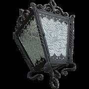 Lantern Huge Vintage Wrought Iron / Geometry Glass Lantern