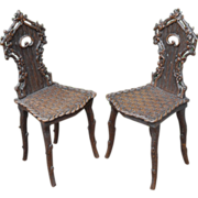 Rustic Faux Walnut Black Forest Pair Shaped Chairs