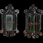 Gothic or Castle Look Lanterns Vintage Wrought Iron Pair Lanterns